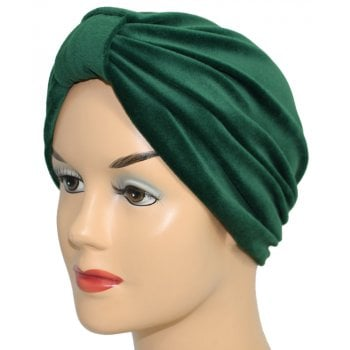 Pleated Velour Turban Green