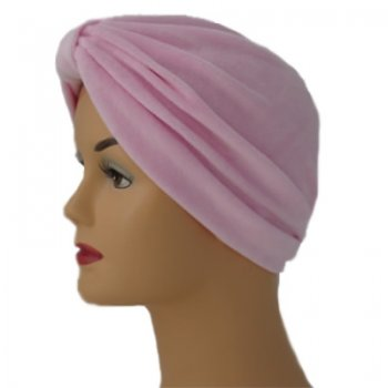 Pleated Velour Turban Light Pink