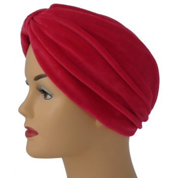 Pleated Velour Turban Red