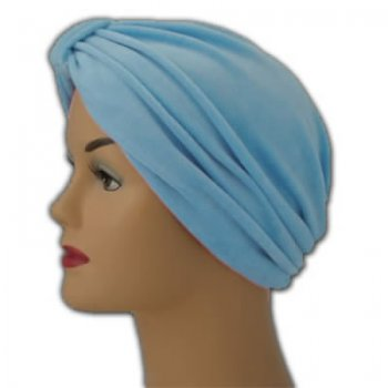 Pleated Velour Turban Sky (Light Blue)