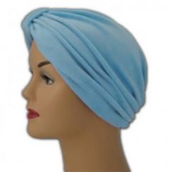 Pleated Velour Turban Sky (Light Blue)