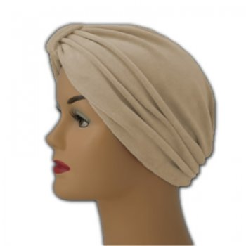 Pleated Velour Turban Tan