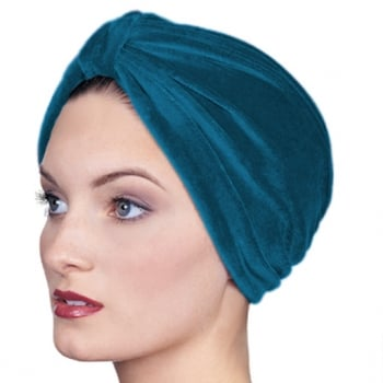 Pleated Velour Turban Teal
