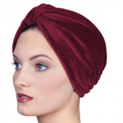 Pleated Velour Turban Vino Red