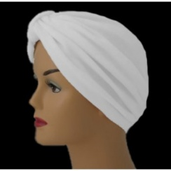Pleated Velour Turban White