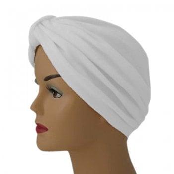 Pleated Velour Turban White