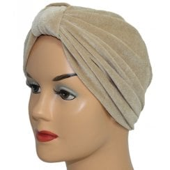 Pleated Velvet Turban Champagne