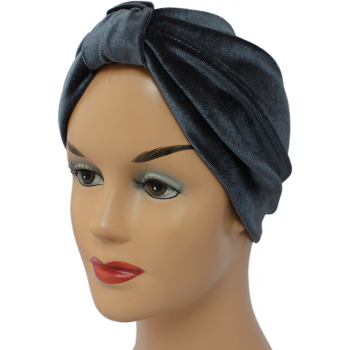 Pleated Velvet Turban Grey