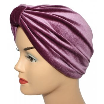 Pleated Velvet Turban Light Maroon
