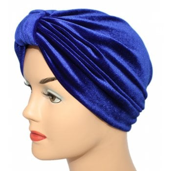 Pleated Velvet Turban Royal Blue