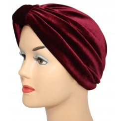 Pleated Velvet Turban Vino Red