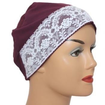 Plum Lace Sleep Cap Lightweight 100% Cotton Jersey