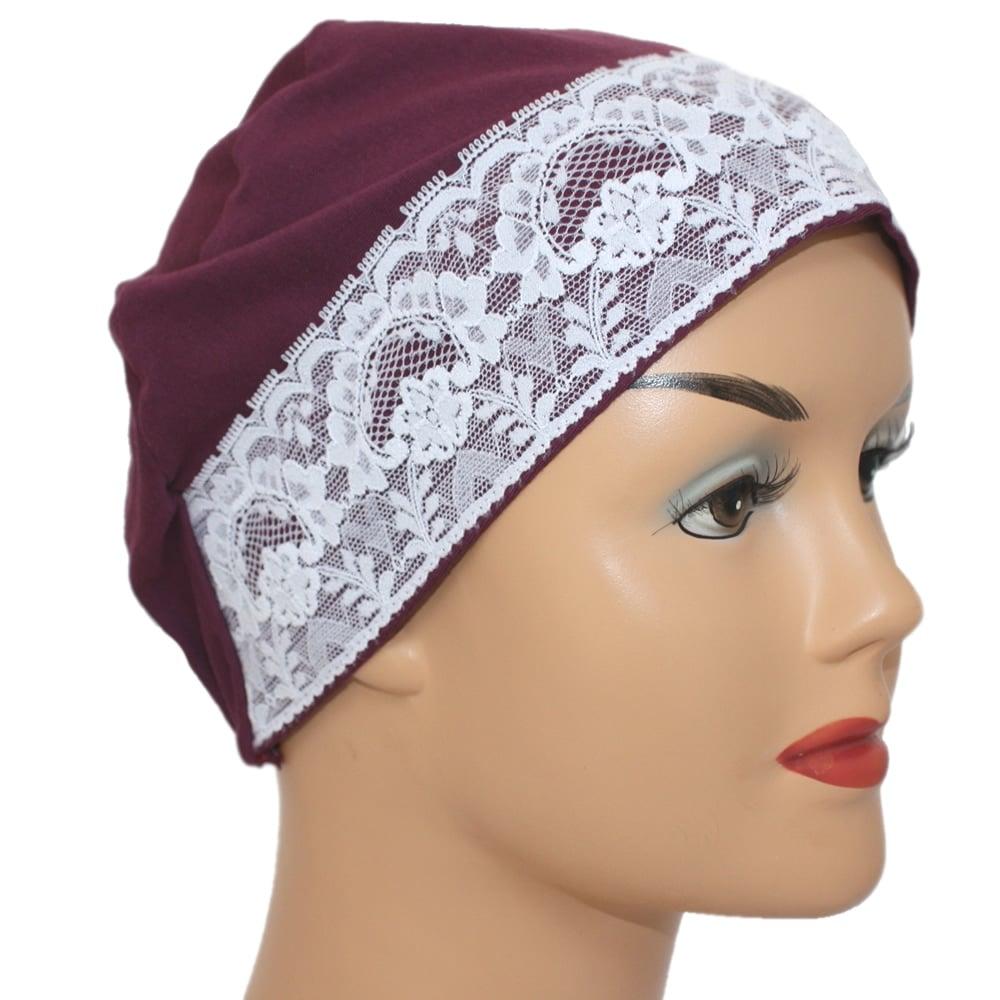 3567dd75aa6 Plum Lace Sleep Cap Lightweight 100% Cotton Jersey - Bohemia ...
