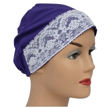 Purple Lace Sleep Cap Lightweight 100% Cotton Jersey