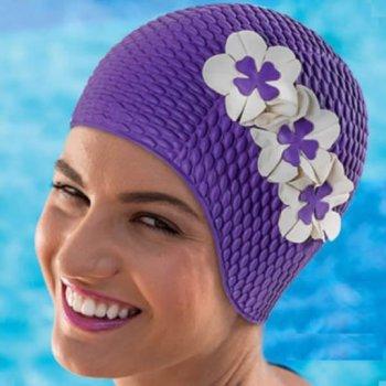 Purple Petal Bubble Crepe Non Pull Swim Cap