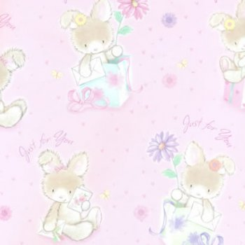 Rabbit Just For You Gift Wrap Pink
