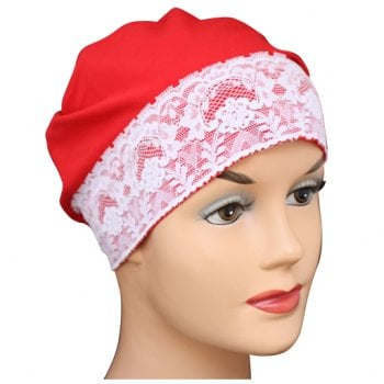 Red Lace Sleep Cap Lightweight 100% Cotton Jersey