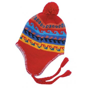 Red Multi Colour Nepal Thermal Beanie Hat