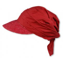 Ruby Red Straw Visor Hat By Seeberger