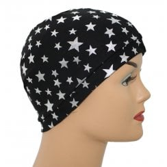 Silver Stars on Black Jersey Head Cap