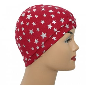 Silver Stars on Red Jersey Head Cap