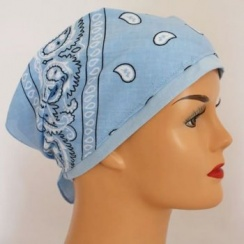 Sky Blue Jersey Cap Bandana 100% Cotton