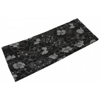 Small Grey Flowers On Black Jersey Extra Wide 10cm Headband