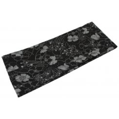 Small Grey Flowers On Black Jersey Extra Wide 10cm Headband