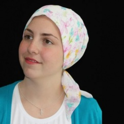 Spring Floral Padded Chiffon Head Tie Scarf (Pink And Green)