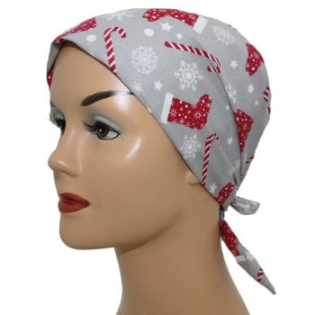 Stockings and Christmas Candy on Grey Head Tie Scarf