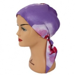 Summer Red Padded Chiffon Head Tie Scarf (Lilac White And Purple)