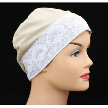 Tan Lace Sleep Cap Lightweight 100% Cotton Jersey