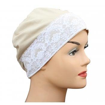 Tan Lace Sleep Cap Lightweight 100% Cotton Jersey