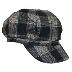 Tartan Lined Baker Boy (Black)