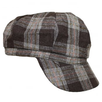 Tartan Lined Baker Boy (Brown)
