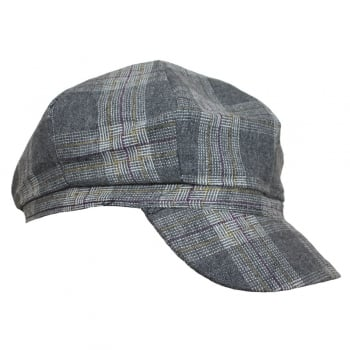 Tartan Lined Baker Boy (Grey)