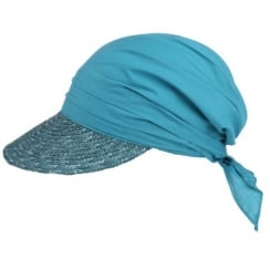 Teal Straw Visor Hat By Seeberger
