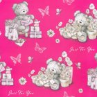 Teddy Just For You Gift Wrap Fuschia
