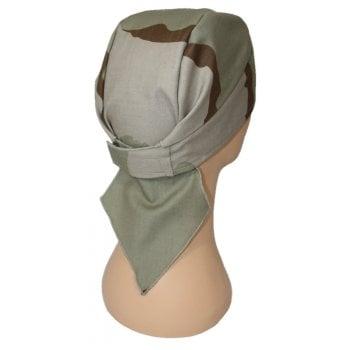 Tri Colour Desert Camouflage Deluxe No Tie Bandana