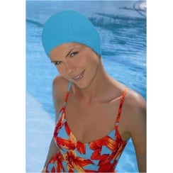 Turquoise Bubble Crepe Non Pull Swim Cap