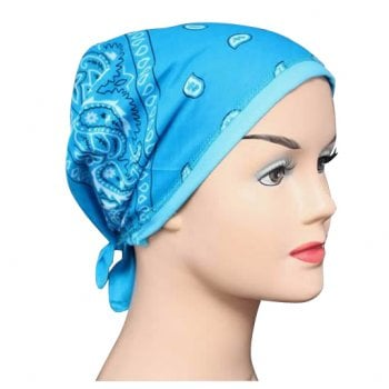 Turquoise Jersey Cap Bandana 100% Cotton