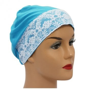 Turquoise Lace Sleep Cap Lightweight 100% Cotton Jersey