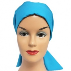 Turquoise Padded Cotton Head Tie Scarf