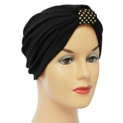 Vicky Pleated Turban Black 100% Cotton Jersey with Gold Sequins Loop