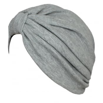Vicky Pleated Turban Marl Grey 100% Cotton Jersey