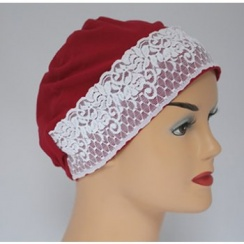 Vino Red Lace Sleep Cap Lightweight 100% Cotton Jersey