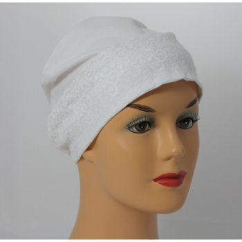 White Lace Sleep Cap Lightweight 100% Cotton Jersey