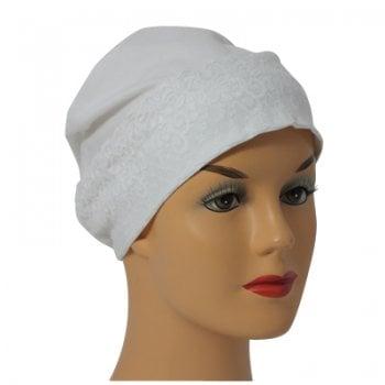 White Lace Sleep Cap Lightweight 100% Cotton Jersey