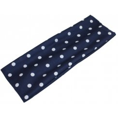 White Polka Dot on Navy Jersey Extra Wide 10cm Headband