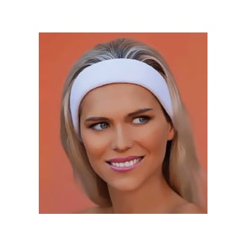 White Towelling Cosmetic Headband With Velcro